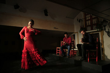 "Japanese flamenco student Maika Kubo performs with Hidalgo and Howarth during private performance at ""Flamenco en Sevilla de Opera"" hall in Seville"