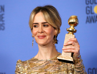 Sarah Paulson holds her award during the 74th Annual Golden Globe Awards in Beverly Hills