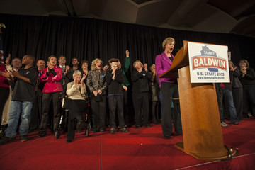 Newly elected U.S. Senator Baldwin addresses her supporters at her victory party in Madison.
