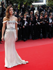 """Jury member Beckinsale poses as she arrives for the screening of the film """"Wall Street - Money Never Sleeps"""" during the 63rd Cannes Film Festival in Cannes"""