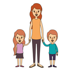 color image caricature full body mother taken hand with girl and boy vector illustration