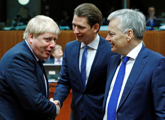 Britain's Foreign Secretary Johnson, Austria's Foreign Minister Kurz, and Belgium's Foreign Minister Reynders attend a European Union foreign ministers meeting in Brussels