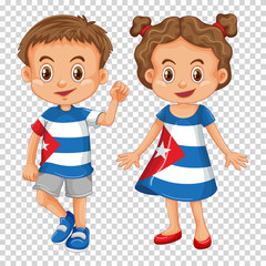 Boy and girl wearing shirts with Cuba flag