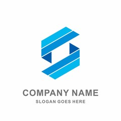 Geometric Infinity Square Strips Letter S Digital Technology Computer Business Company Stock Vector Logo Design Template
