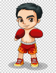 Boxer in red shorts and gloves