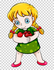 Girl holding red apples on transparent background