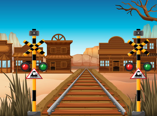 Railroad scene in the western town