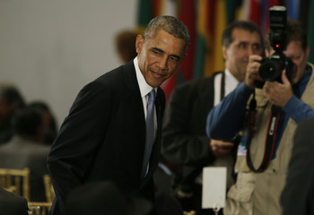 US President Barack Obama attends the leaders luncheon at the 69th United Nations General Assembly in New York