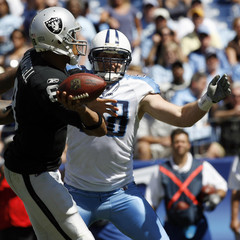 Tennessee Titans defensive end Dave Ball pressures Oakland Raiders quarterback Jason Campbell during their NFL football game in Nashville