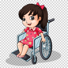 Girl on wheelchair on transparent background