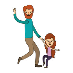color image caricature bearded father with girl dancing vector illustration