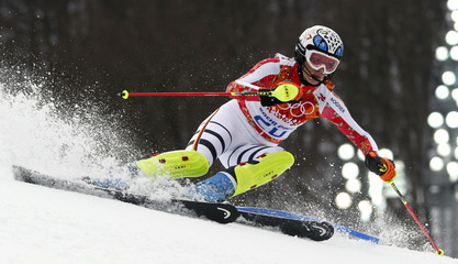 Germany's Hoefl-Riesch skis during the slalom run of the women's alpine skiing super combined event at the 2014 Sochi Winter Olympics
