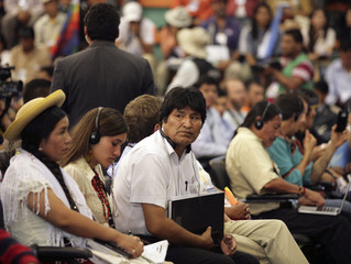 Bolivia's President Evo Morales attends the World People's Conference on Climate Change and the Rights of Mother Earth session in Tiquipaya on the outskirts of Cochabamba