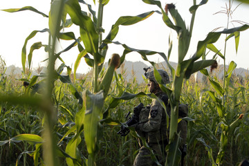 U.S. army soldier SGT Matthew Spiller of 2nd Battalion, 1st Infantry Regiment, stands guard in a corn field during a joint U.S.-Afghan military clearing operations in Nagahan district in Kandahar province,