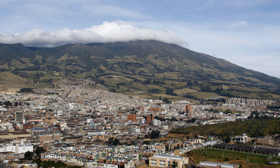 The Galeras volcano seen from the city of Pasto