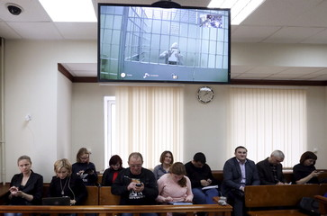 Tamerlan Eskerkhanov, suspected of involvement in the killing of opposition figure Boris Nemtsov, is seen via a video link in Moscow