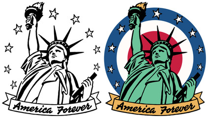 A graphic of the Statue of Liberty with a banner reading America Forever