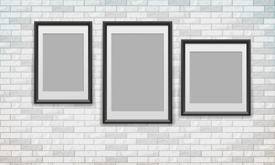 Set of posters with black frame hanging over brick wall, vector illustration