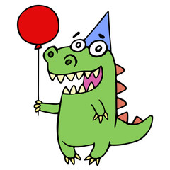 Happy birthday greeting dragon. Vector illustration.