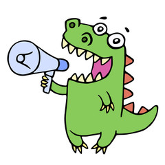 Funny smiling dinosaur shouting in megaphone. Vector illustration.