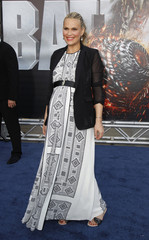 "Actress Molly Sims, who is pregnant, poses at the American premiere of Universal Pictures' film ""Battleship"" in Los Angeles"