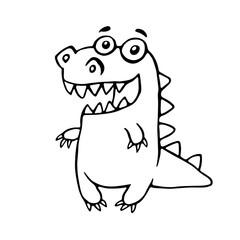 Cartoon friendly dragon. Vector illustration.