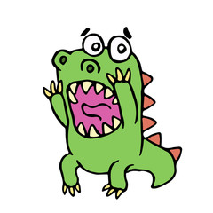 scared dinosaur. vector illustration.