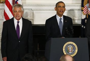 U.S. President Obama announces the resignation of Defense Secretary Hagel at the White House in Washington
