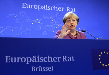 Germany's Chancellor Merkel speaks during a news conference at the end of an European Union leaders summit meeting in Brussels