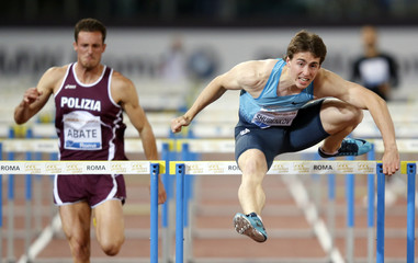 Shubenkov of Russia clears a hurdle on his way to win the men's 110m hurdles event during the Golden Gala IAAF Diamond League at the Olympic stadium in Rome