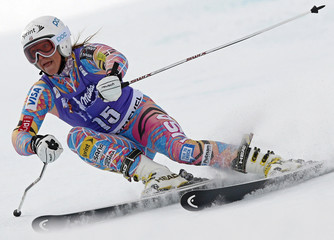 Julia Mancuso of the U.S. skis down the slopes during the second run of the women's World Cup giant slalom skiing race in Courchevel