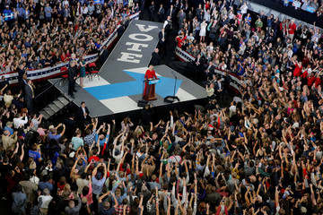 U.S. Democratic presidential nominee Hillary Clinton speaks at a campaign rally in Raleigh