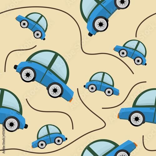 Editable Cars Vector Illustration Seamless Pattern