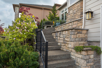 House Front Cultured Stone Work Siding and Stair