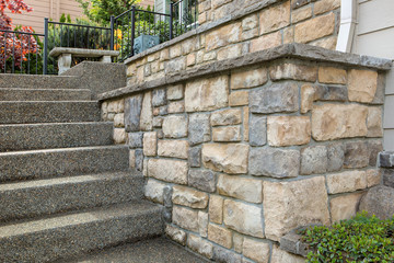 Cultured Stone Work on House Front Wall mural