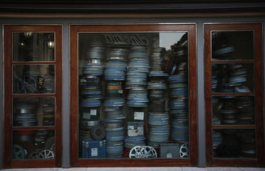 Film reels are displayed in the Portuguese Cinematheque in Lisbon