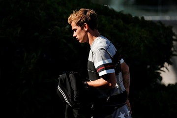 France's forward Antoine Griezmann arrives at the French national football team training base in Clairefontaine