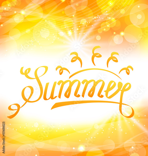 """Summer Abstract Background with Text Lettering, Sun and ..."