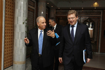 Tunisia's Foreign Minister Kefi and European Commissioner on Enlargement and European Neighborhood Policy, Fule, talk during a meeting in Tunis