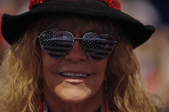 Nevada delegate wears U.S. flag-themed eyeglasses at the Republican National Convention in Cleveland