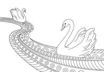 River swan black white graphic abstract doodle pattern sketch illustration vector