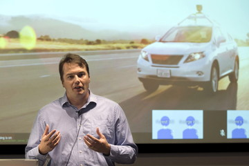 File photo of Urmson, director of the Self Driving Cars Project at Google, speaking during media preview of Google's prototype autonomous vehicles in Mountain View, California