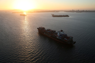 A Hanjin Shipping Co ship is seen stranded outside the Port of Long Beach