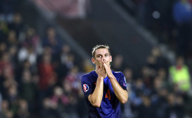Stefan de Vrij of the Netherlands reacts after the Euro 2016 qualifying soccer match against the Czech Republic in Prague