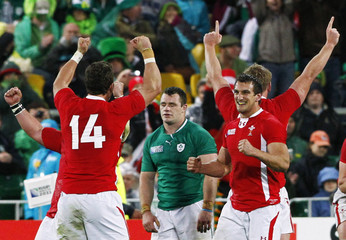 Ireland players react as Wales players celebrate winning their Rugby World Cup quarter-final match at Wellington Regional Stadium