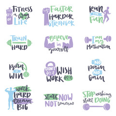Vector hand drawn fitness motivational sport gym crossfit trainings motivation text lettering