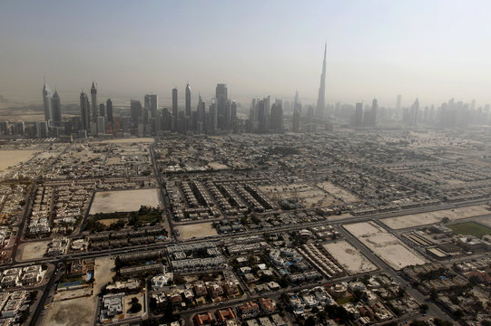 The skyline of the Sheikh Zayed highway is seen with the Burj Khalifa tower in Dubai