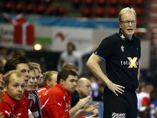 Denmark's coach Wilbek reacts during their Men's Handball World Championship match against Tunisia in Zaragoza