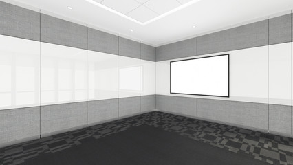 empty room in office corporate with blank screen, 3d render interior design, mock up illustration