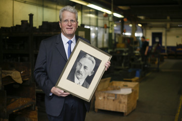 Supe-Dienes director of German industrial knife manufacturer Dienes poses for a picture in workshop of his company in Overath